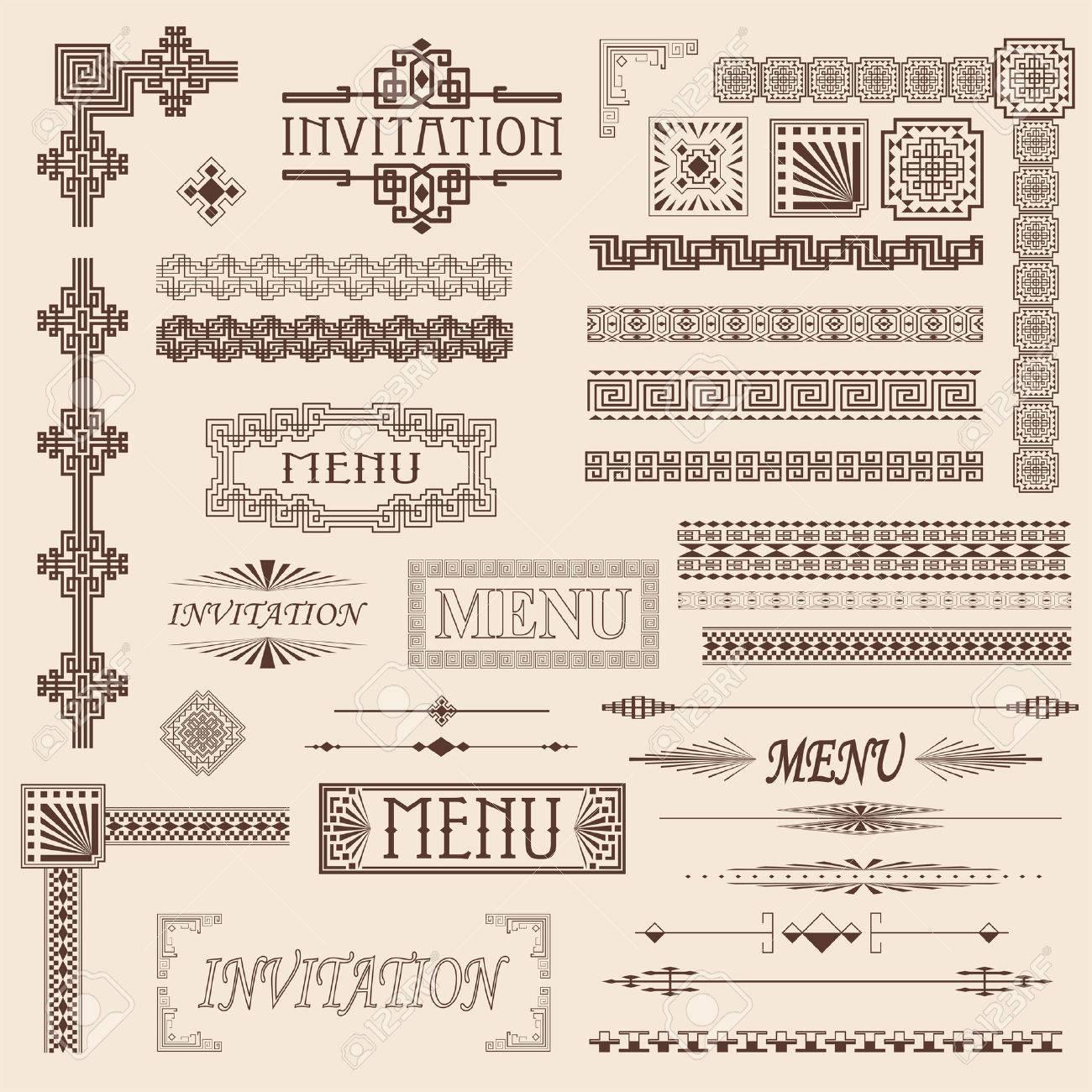 Decorative menu and invitation border elements Stock Vector - 8984758