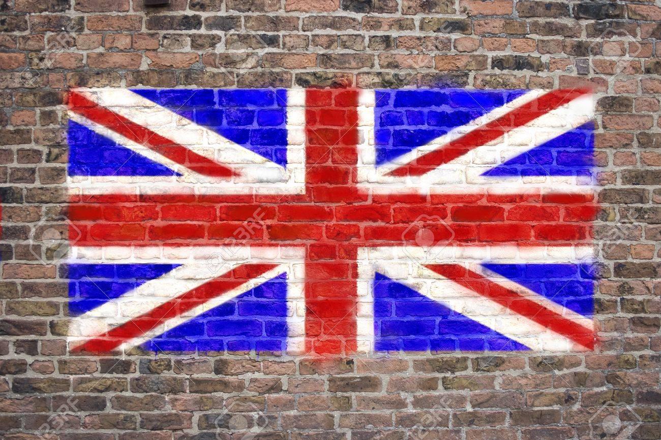 Flag of The United Kingdom sprayed on brick wall Stock Photo - 9126430