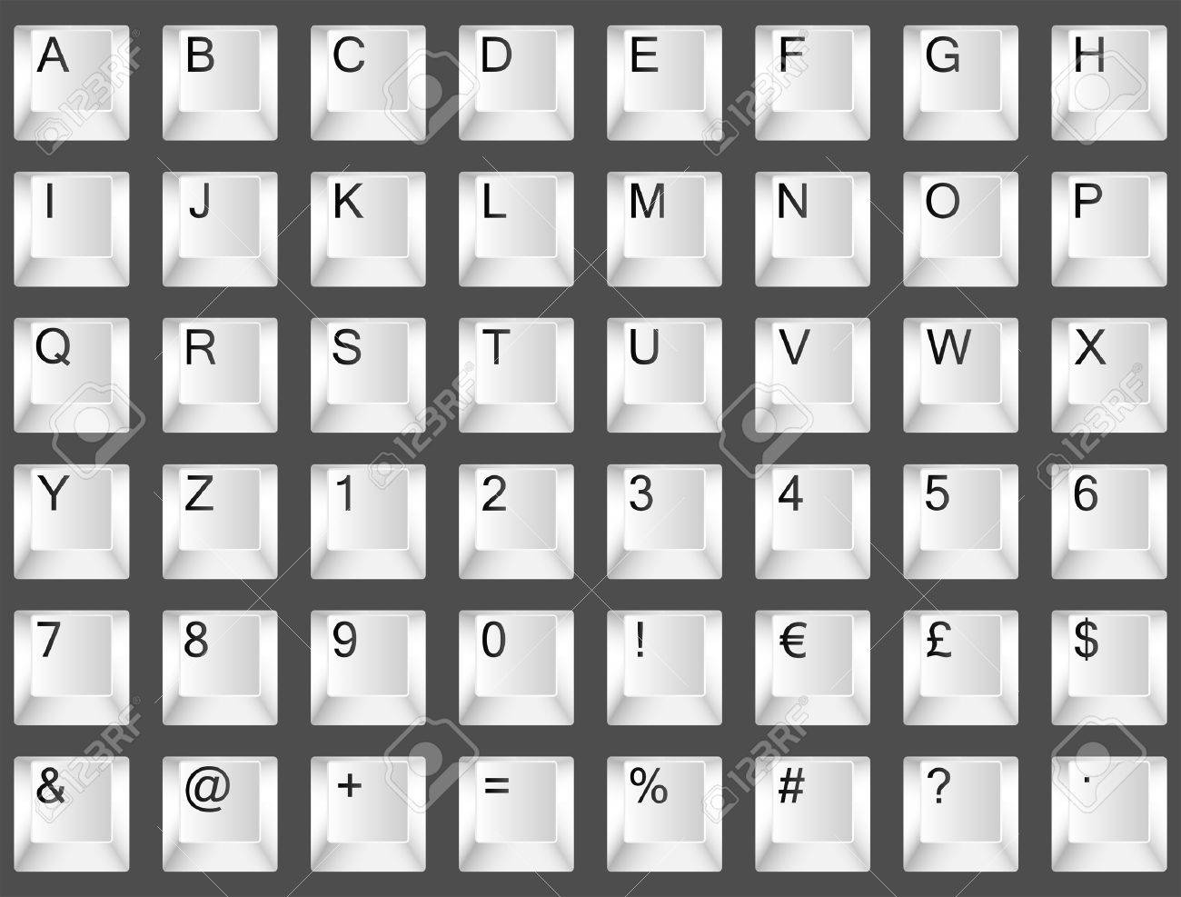 White Keyboard Font Letters A To Z Numbers 0 To 9 And Symbols