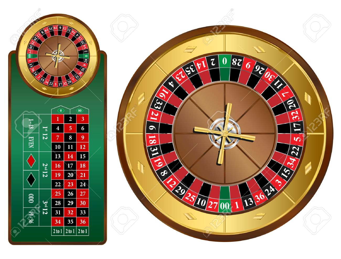 Traditional european roulette table vector illustration stock vector - American Style Roulette Wheel And Table Illustration Stock Vector 12479724