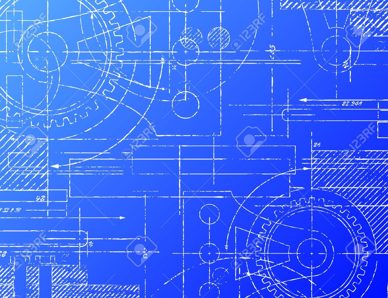 grungy technical blueprint illustration on blue background royalty