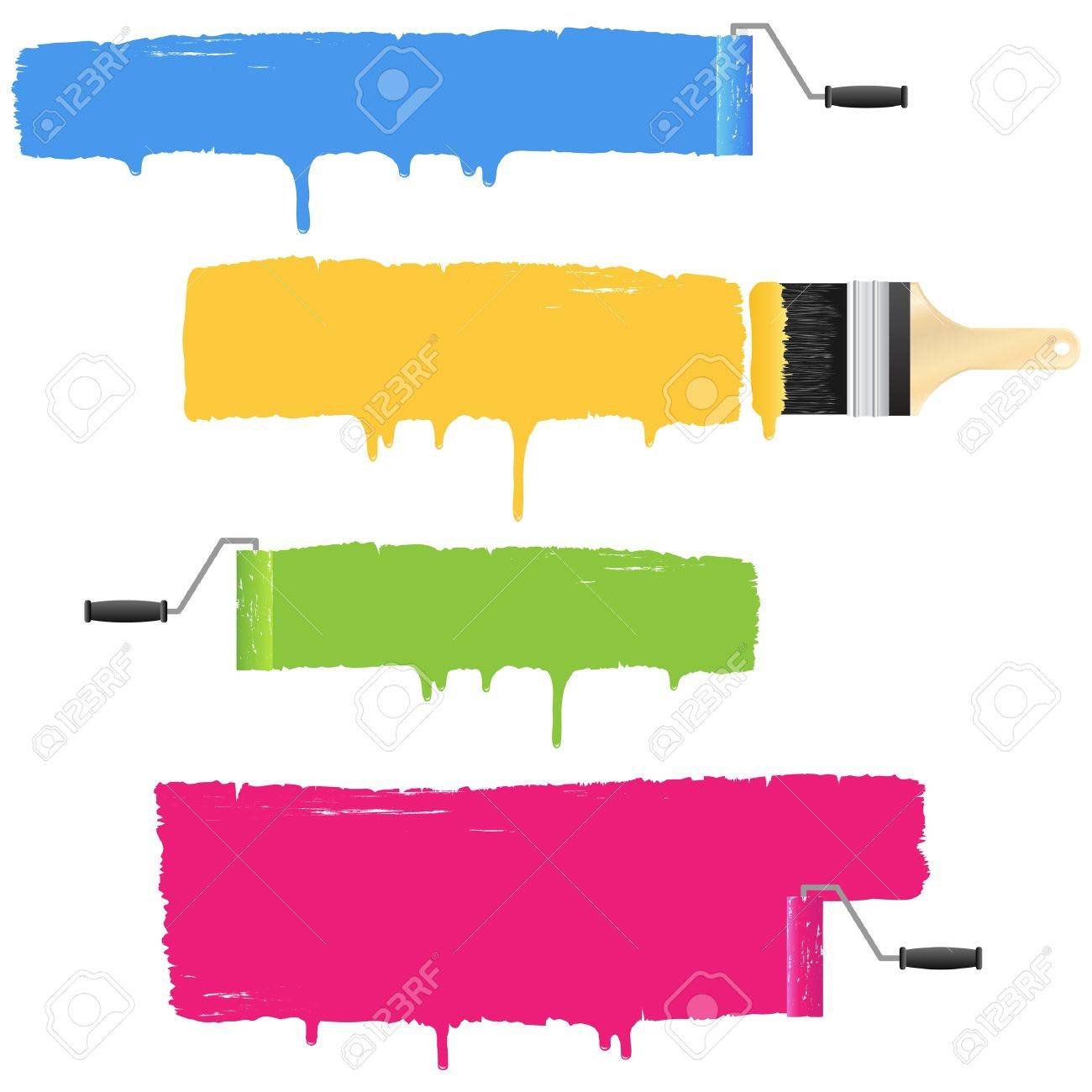 Colorful paint roller and brush smear banners - 15700430