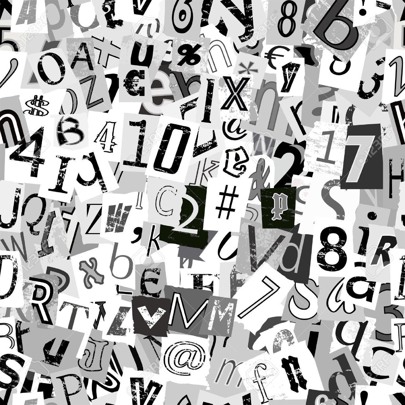 Black and white repeating newsprint letters wallpaper background - 15700431