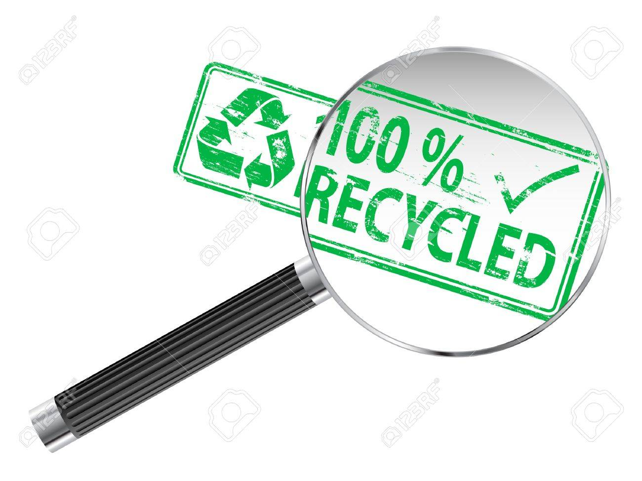 100 Percent Recycled rubber stamp under a magnifying glass Stock Vector - 15969854