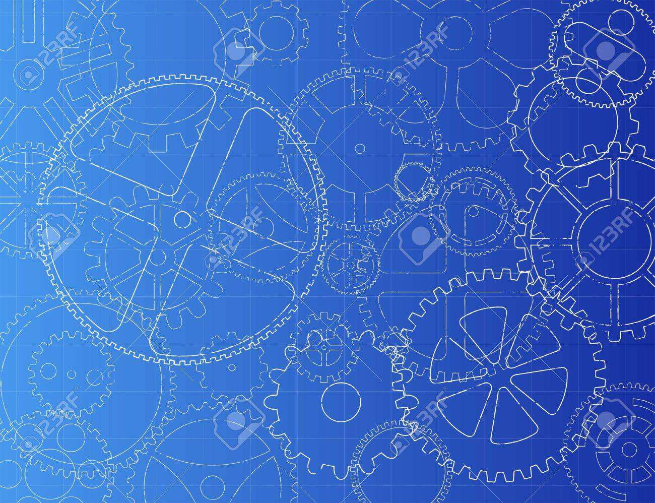 Grungy technical gears illustration on blue background - 16082227