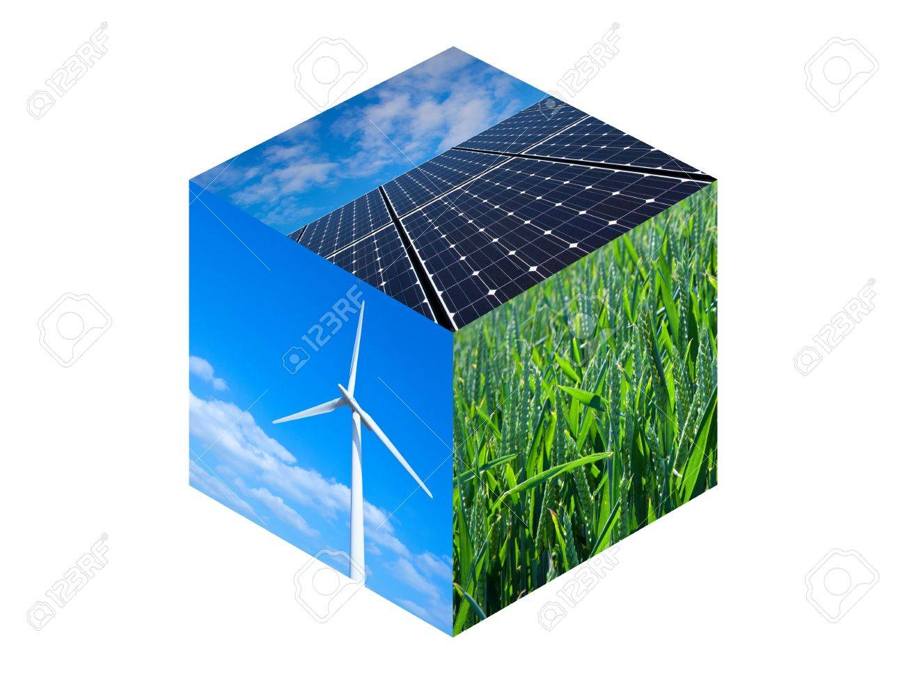 Wind turbine, solar panels and wheat field. Renewable energy photos in a cube - 16166460