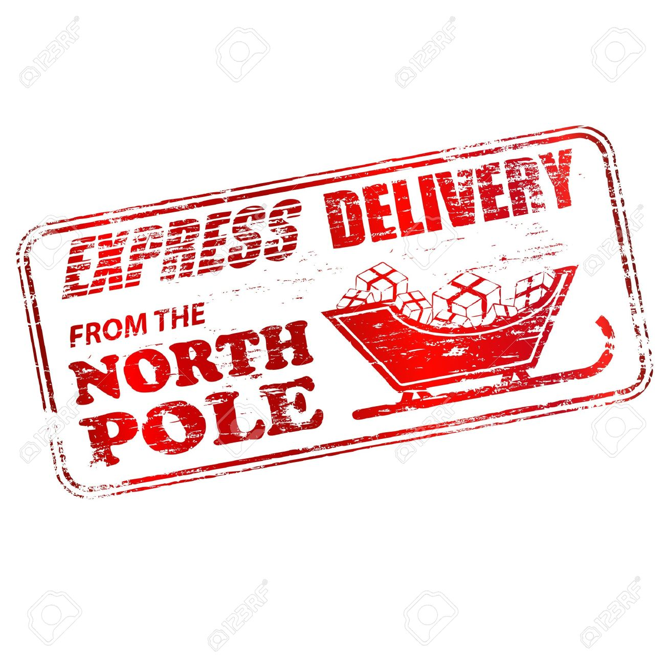 Express Delivery From The North Pole Rubber Stamp Illustration Stock Vector