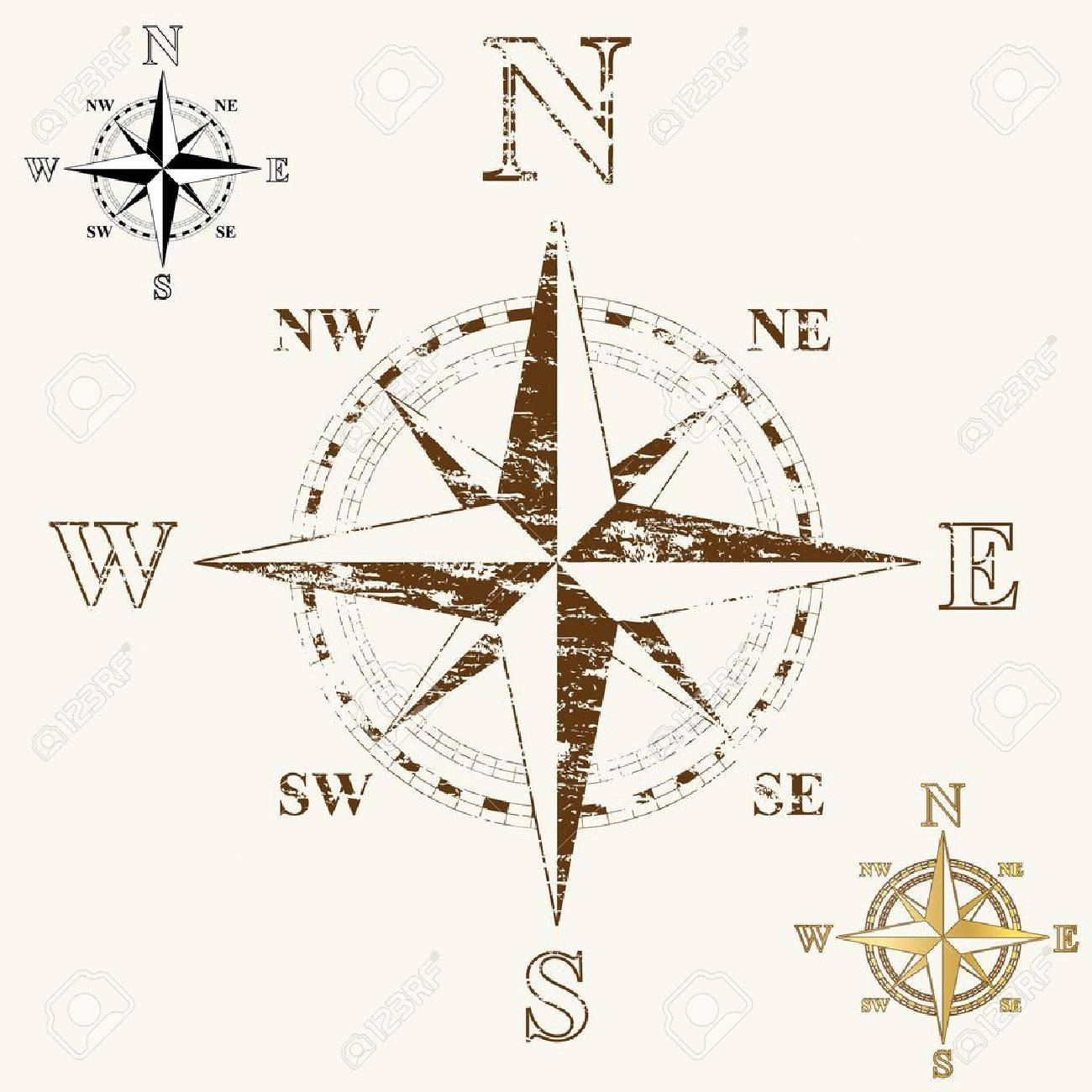 Faded compass rose, with gold, and plain black and white versions. - 16657619