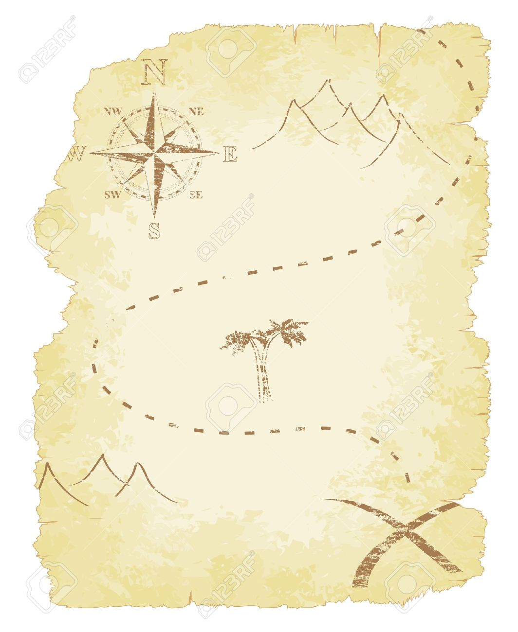 Battered and faded old treasure map - 16657747