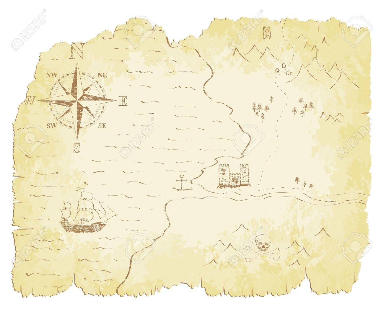 Battered and faded old map illustration. - 16704105