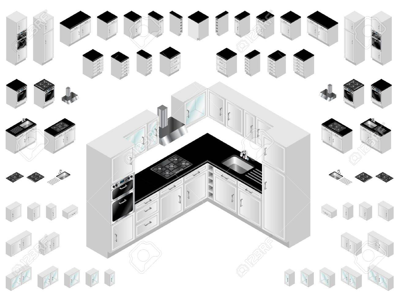 Kitchen Design Elements. Large Selection Of Isometric Kitchen ...