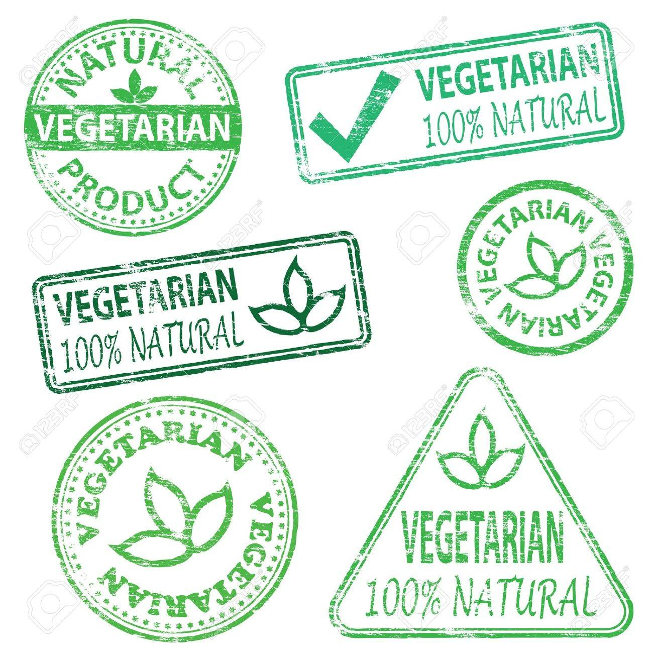 Vegetarian and natural food. Rubber stamp vector illustrations - 17243428