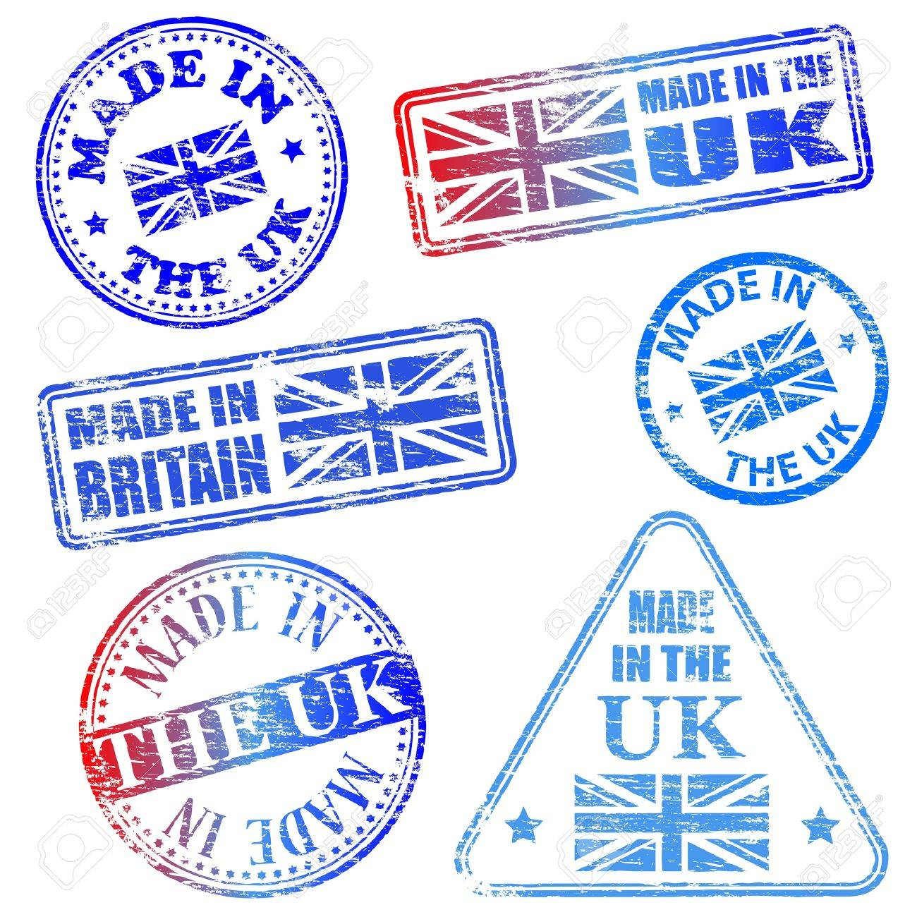 Made in the UK. Rubber stamp illustrations - 17373402