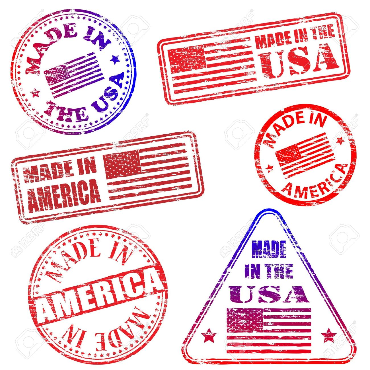 Made in America. Rubber stamp illustrations - 17373390