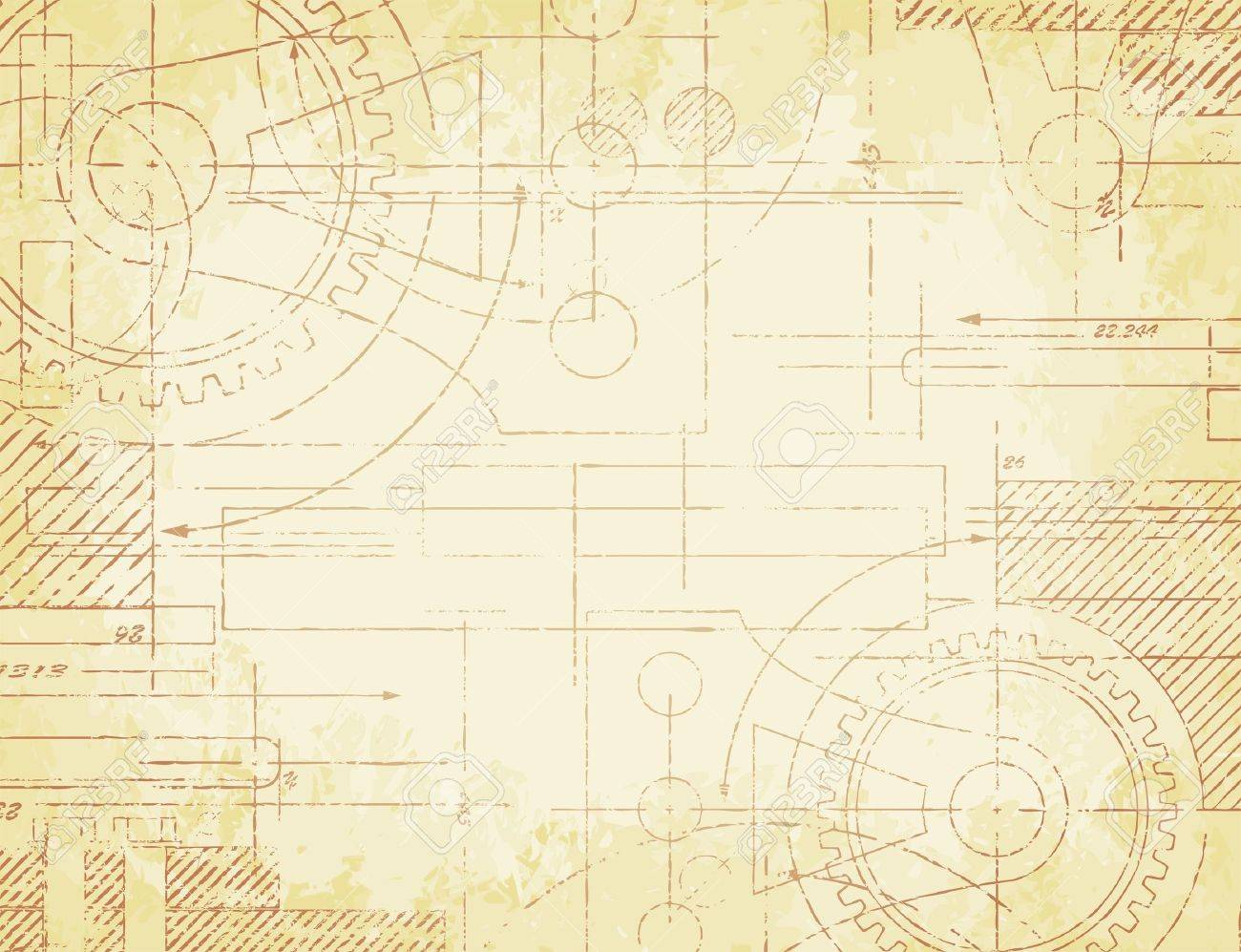 Grungy old technical blueprint illustration on faded paper grungy old technical blueprint illustration on faded paper background stock vector 17923653 malvernweather Images