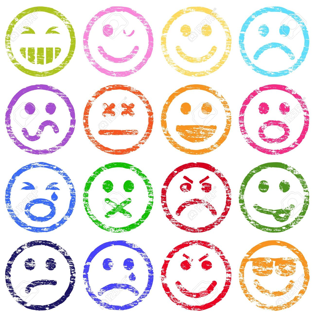 Colorful smiley face rubber stamp illustrations - 18142309