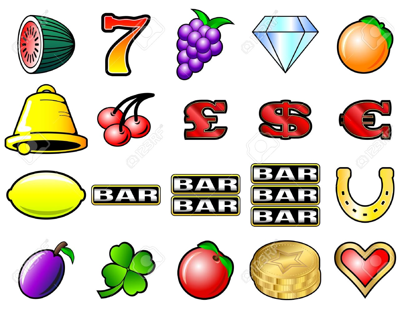 Slot machine fruits and other icon vector illustrations - 18594167