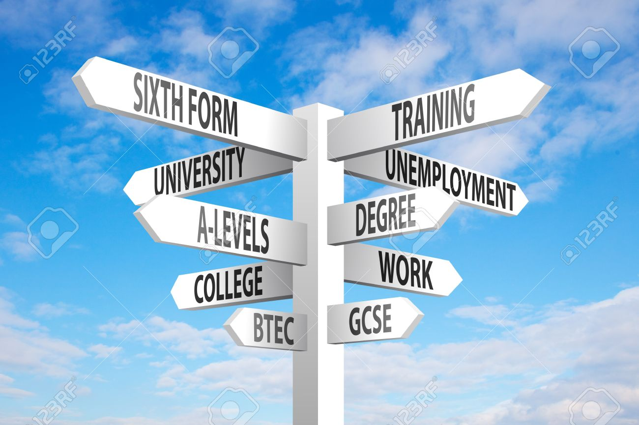 Education and employment choices signpost on blue sky background - 19009240