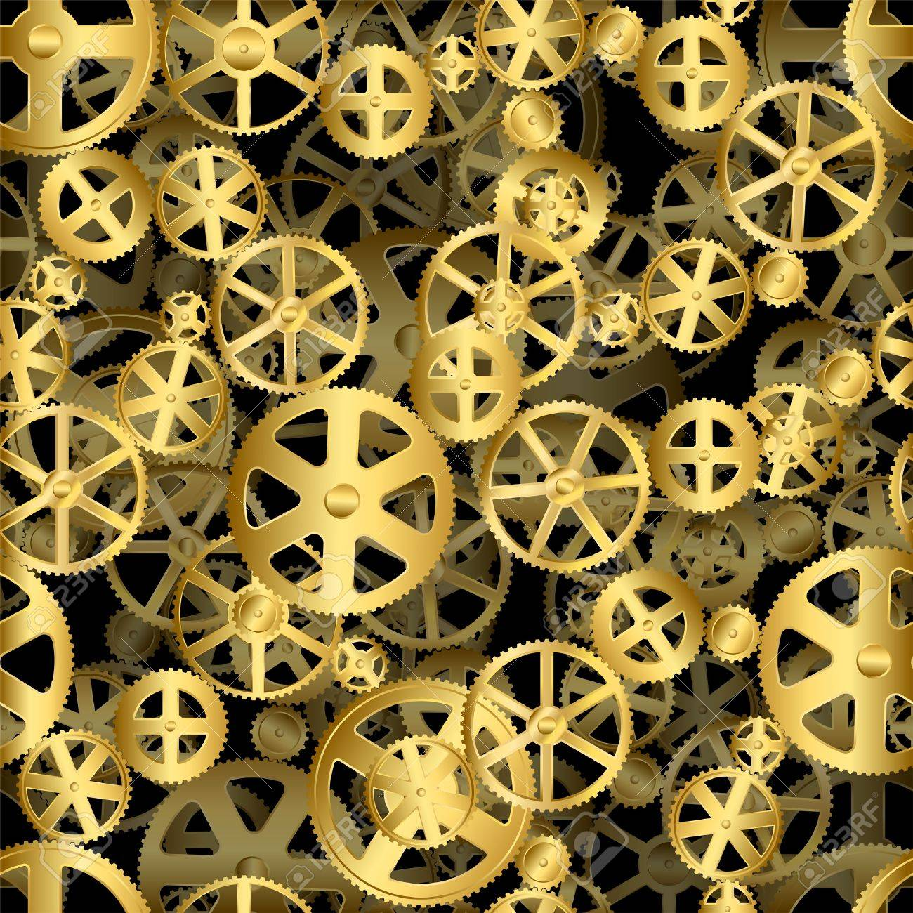 Repeating gold seamless gear wheels industrial background Stock Vector - 19421230