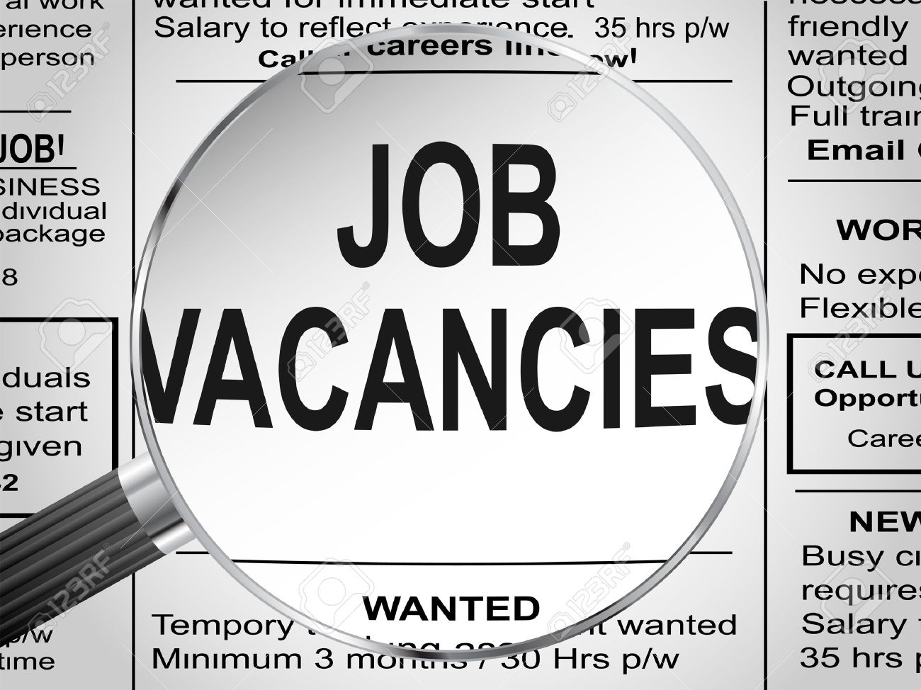 Newspaper clipping Jobs vacancies under magnifying glass Vector illustration - 23315543