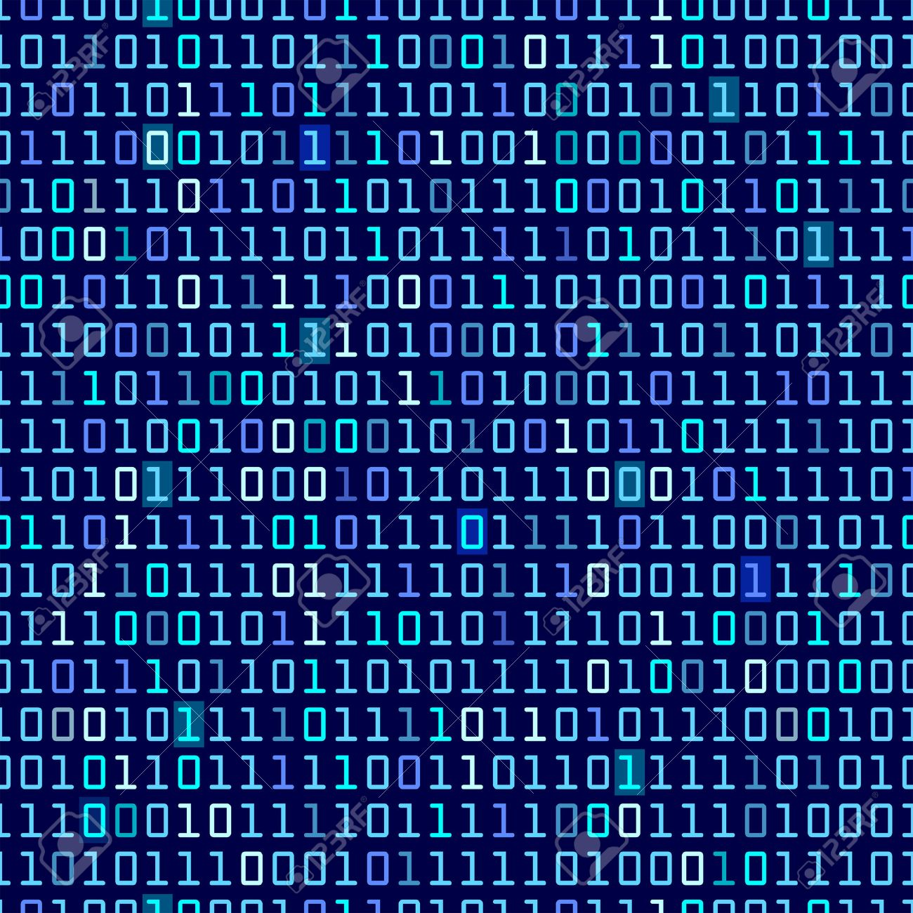 Blue binary computer code repeating vector background illustration - 23190573