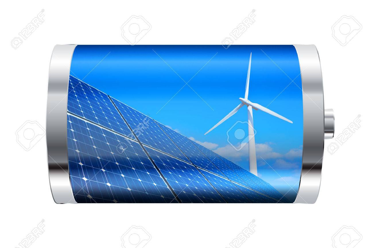 Battery containing solar panels and wind turbine - 23859234