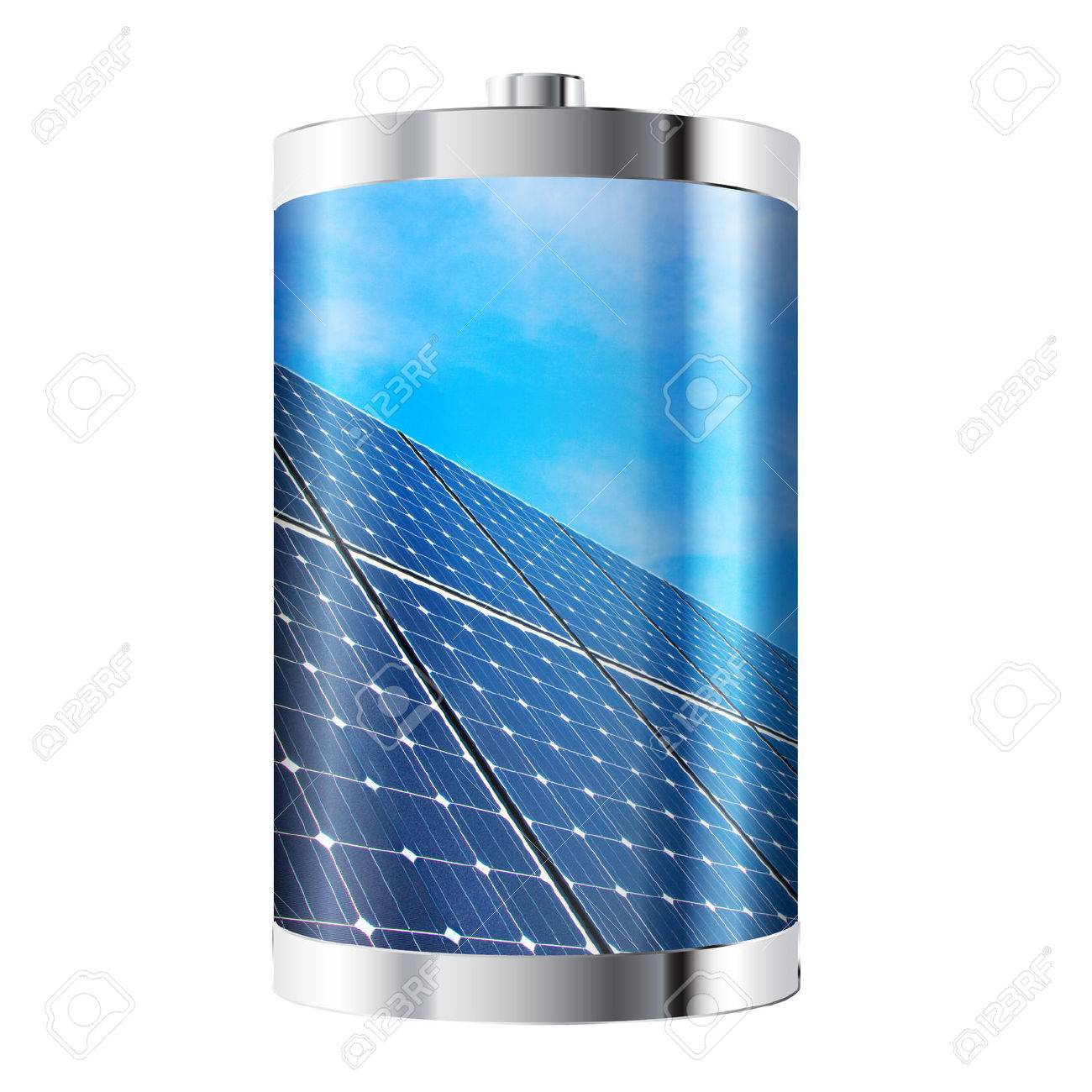 Battery containing solar panels against blue sky - 23862749