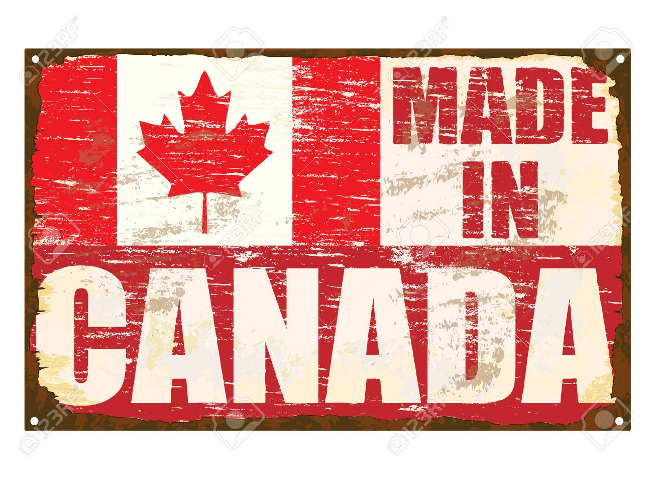 Made in Canada rusty old enamel sign Stock Vector - 24517692
