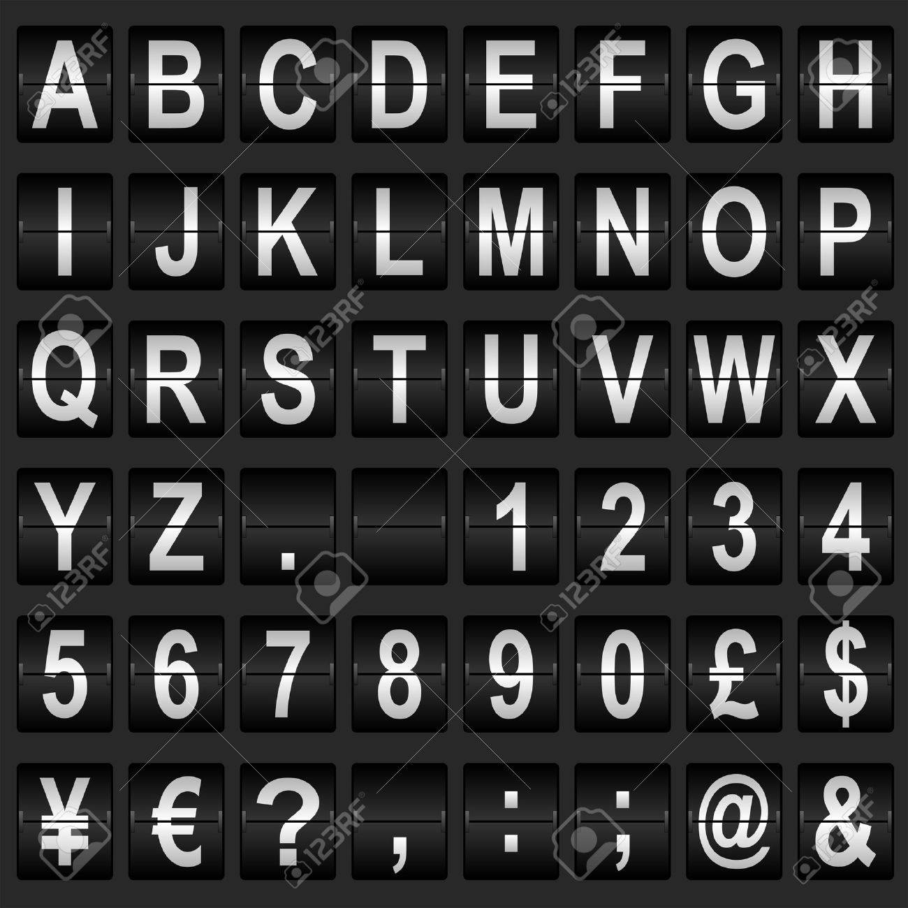 Mechanical departure board letters and numbers. Flip over display font - 28450192