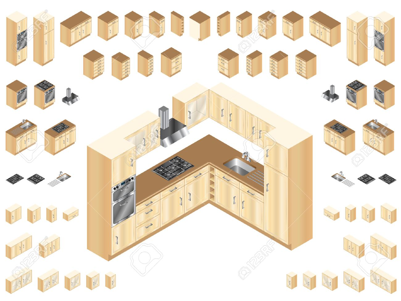 Wooden Kitchen Design Elements. Large Selection Of Isometric ...