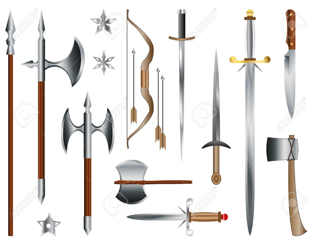 Swords, axes and bow. Medieval weapons - 32518358
