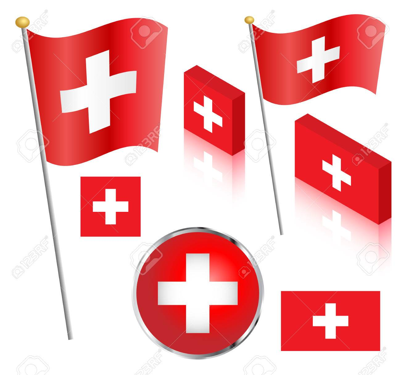 Swiss flag on a pole. Traditional square, and non-traditional rectangular badge and isometric designs vector illustration. - 41372407