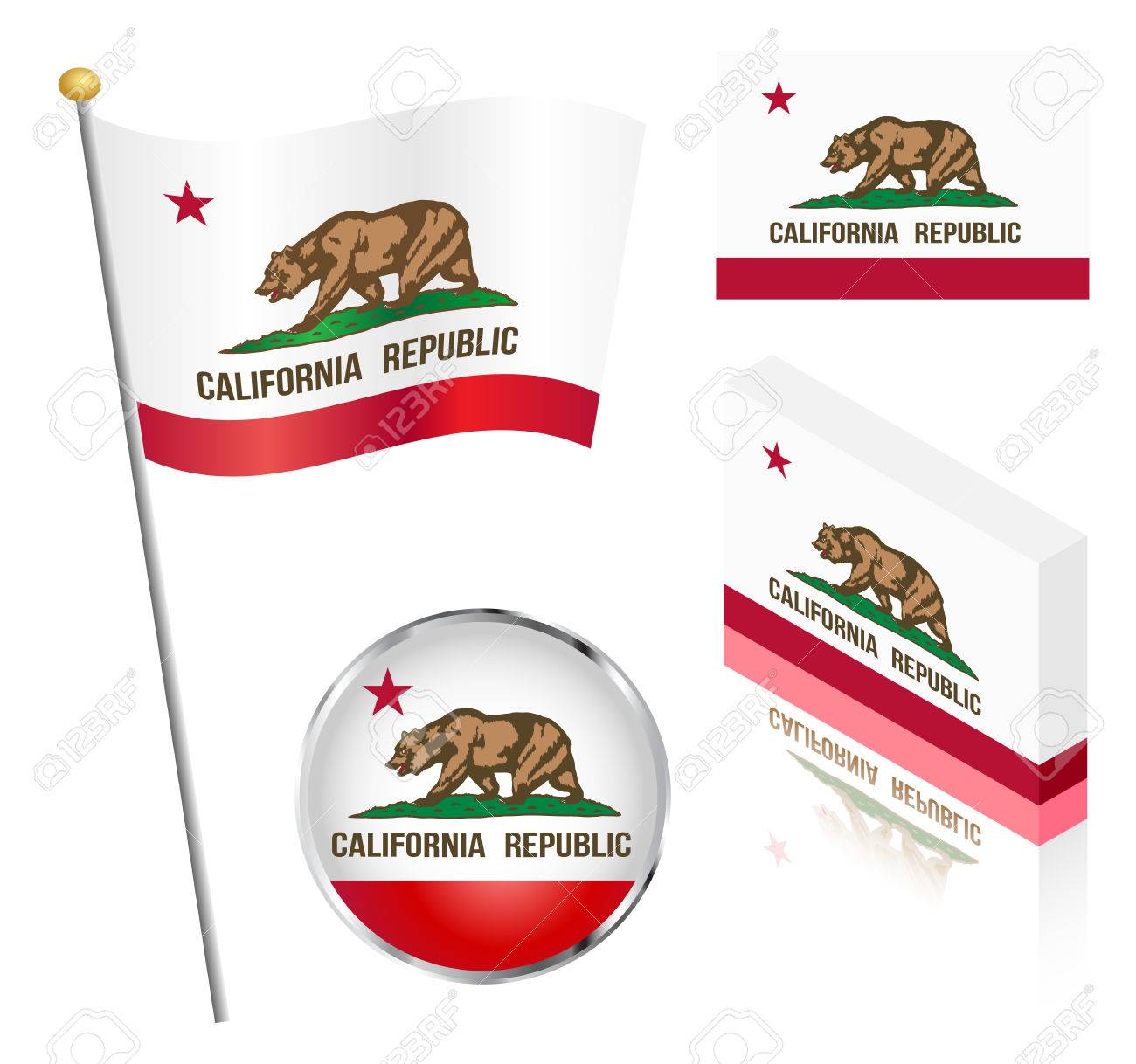 State of California flag on a pole, badge and isometric designs vector illustration. - 41372408