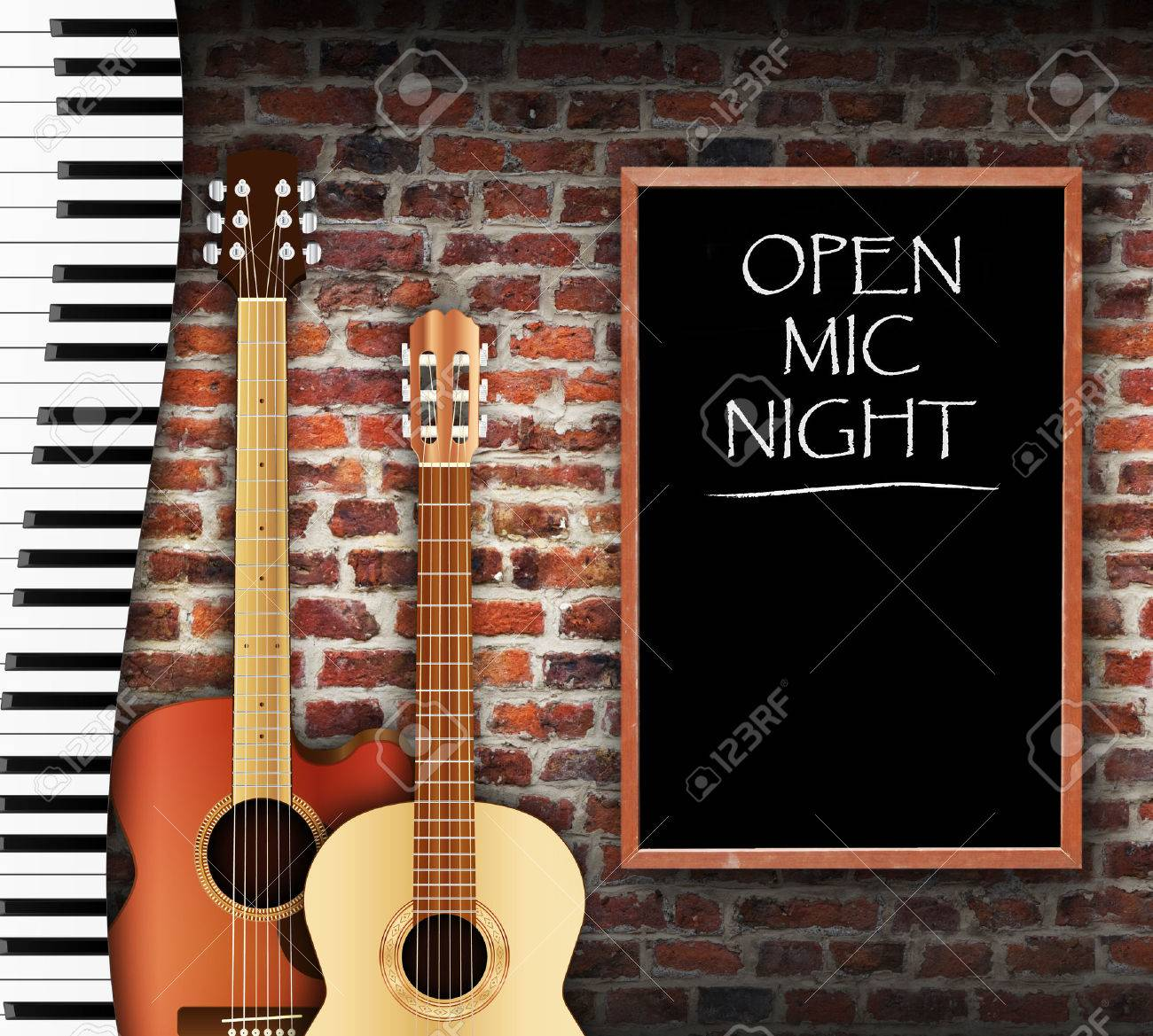 Guitars and keyboard against brick wall background and open mic night written on blackboard - 43134554