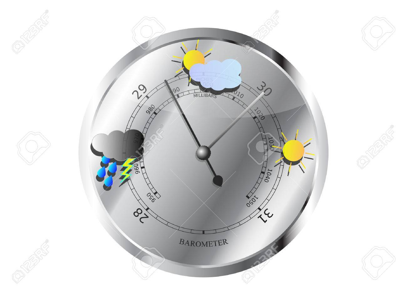 Metal barometer with weather symbols vector illustration - 47463662