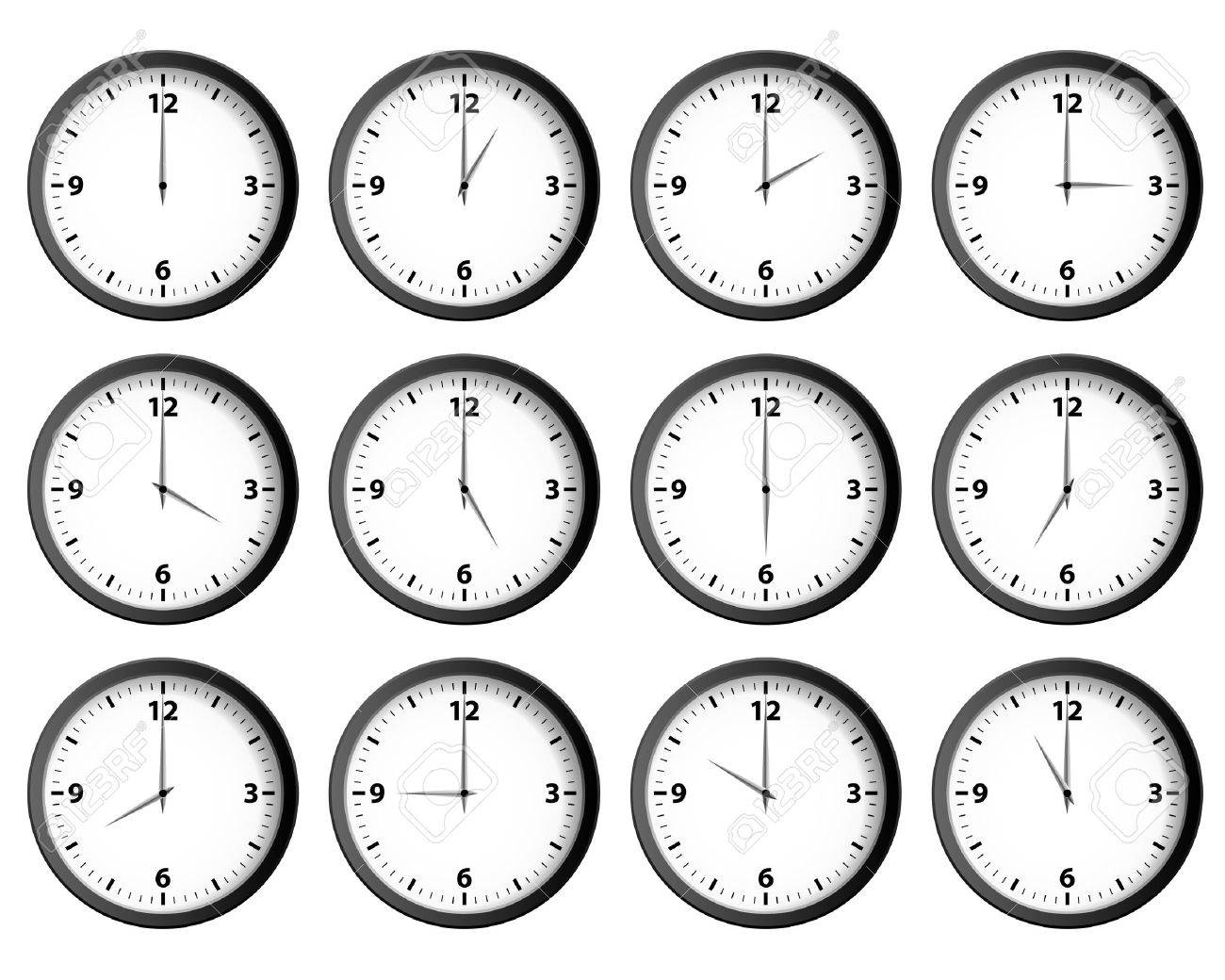 Twelve clocks set at each hour vector