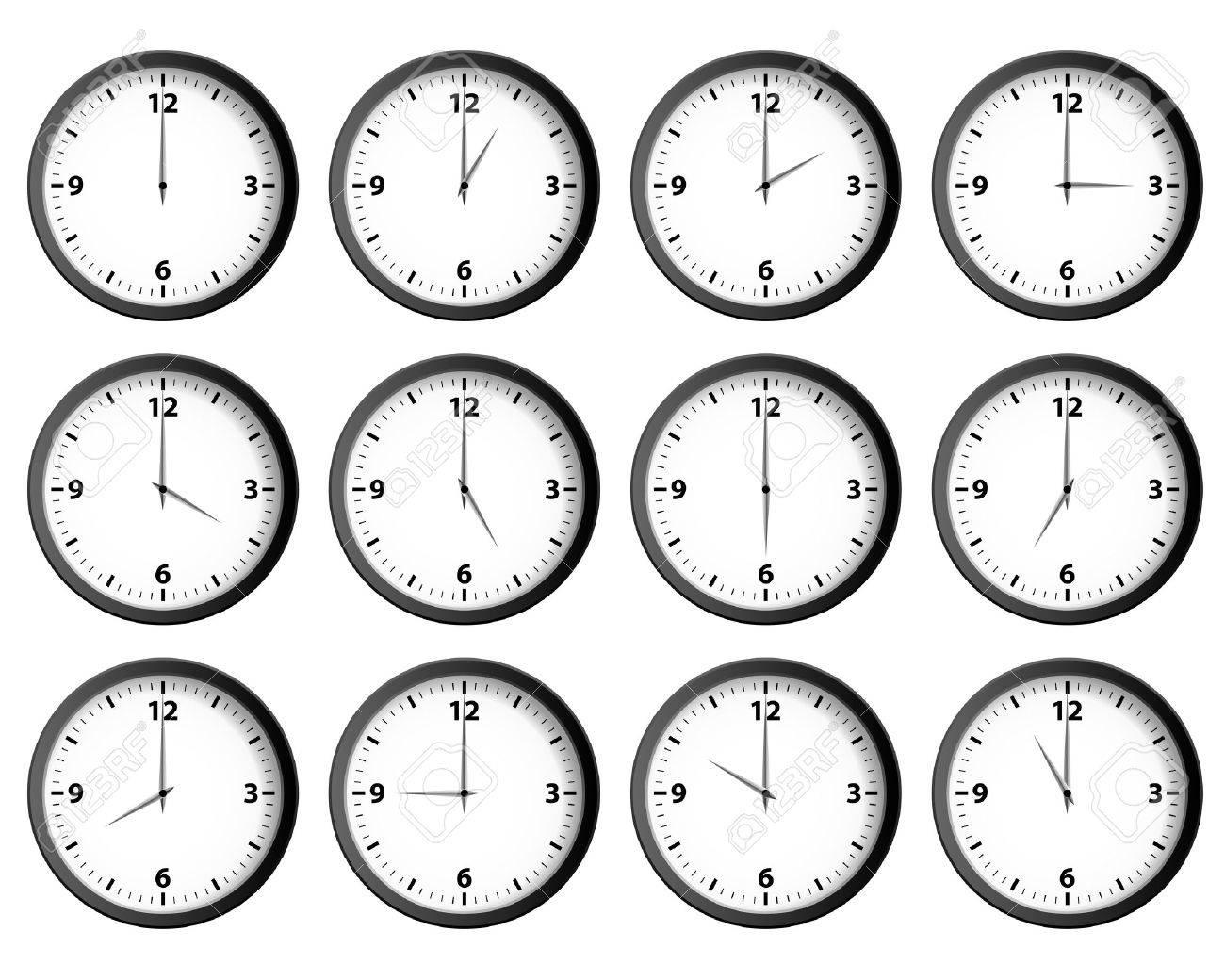 Twelve clocks set at each hour vector - 47463664
