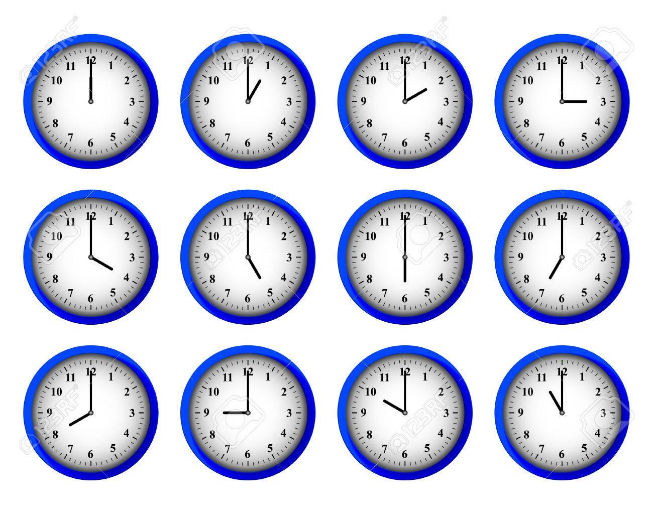 Twelve modern clocks set at each hour intervals vector - 47463696