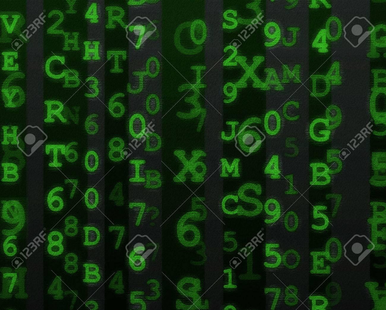 緑の文字と数字の汚れた英数字デ...