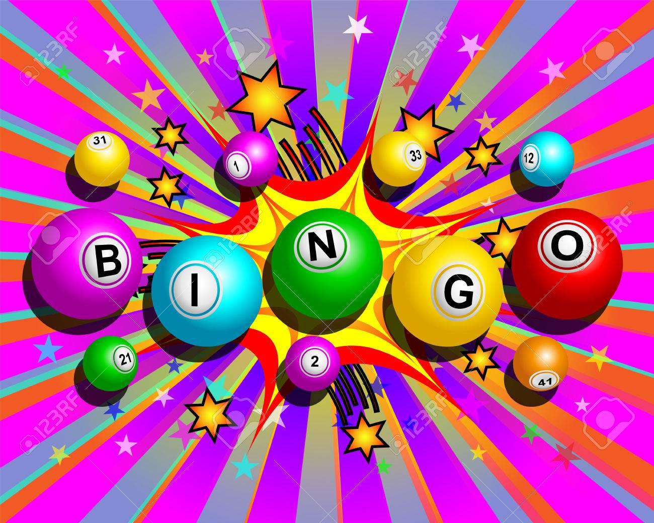 Bingo balls word on colorful cartoon exploding background - 57202777