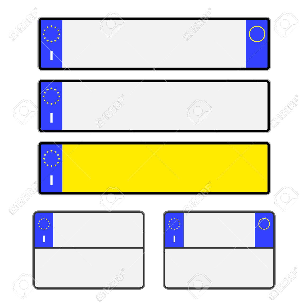 Blank Italian Vehicle Licence Number Plates In Different Styles ...