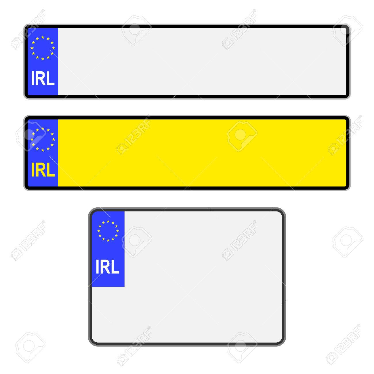 Blank Southern Ireland vehicle licence number plates in different styles vector - 63889916