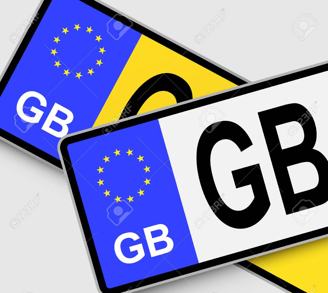 Front and rear British vehicle licence plates with EU marking - 66177749