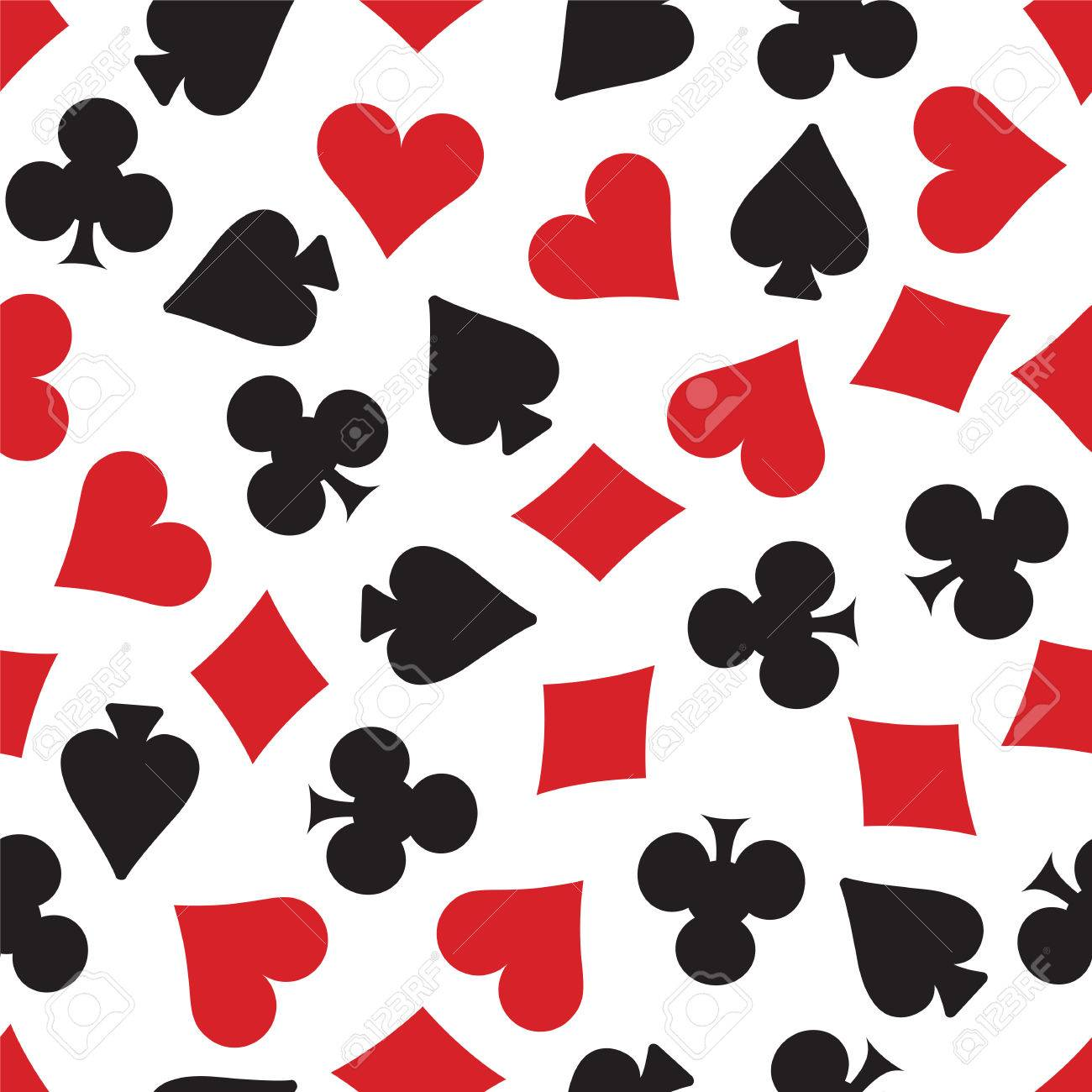 hearts spades clubs and diamonds card suits background repeating