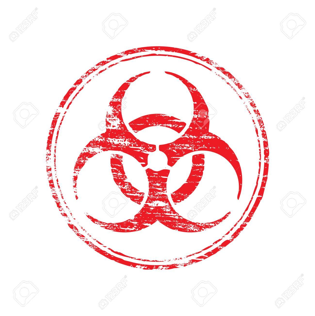 Round Biohazard Symbol Grungy Rubber Stamp Symbol Vector