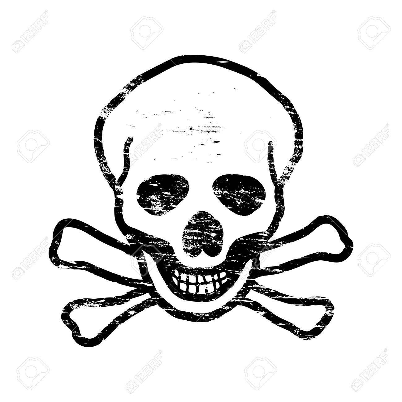 Skull And Crossbones Grungy Rubber Stamp Symbol Vector Illustration Stock