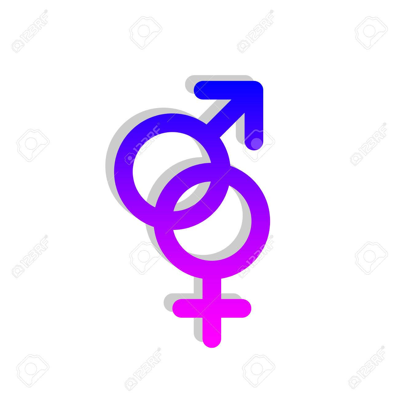 Male And Female Pink And Blue Gender Symbols Connected Together