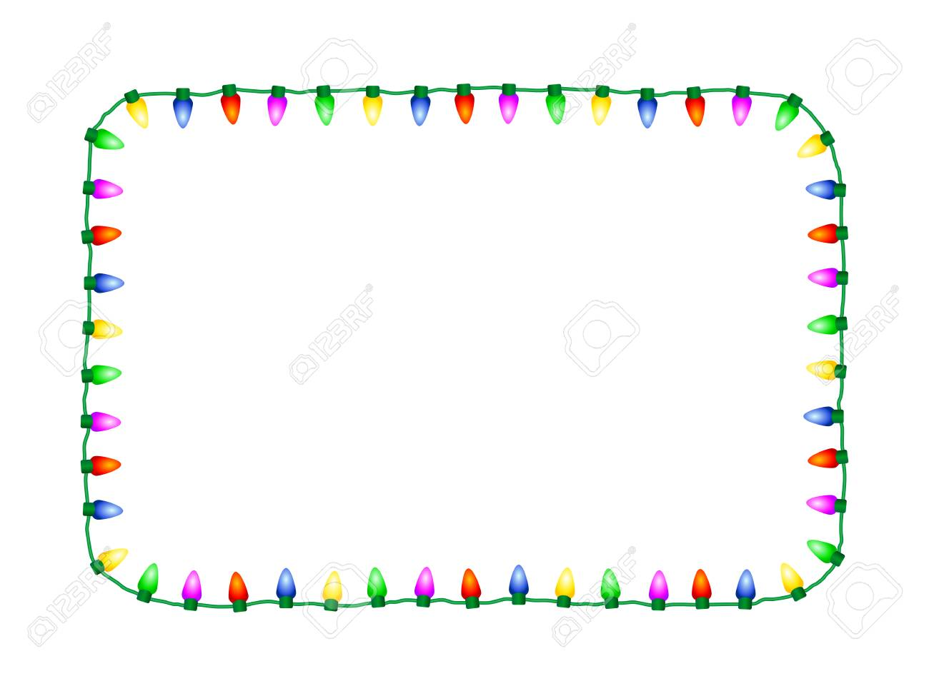 Christmas Lights Vector Free.Decorative Seasonal Christmas Lights Vector Rectangular Frame