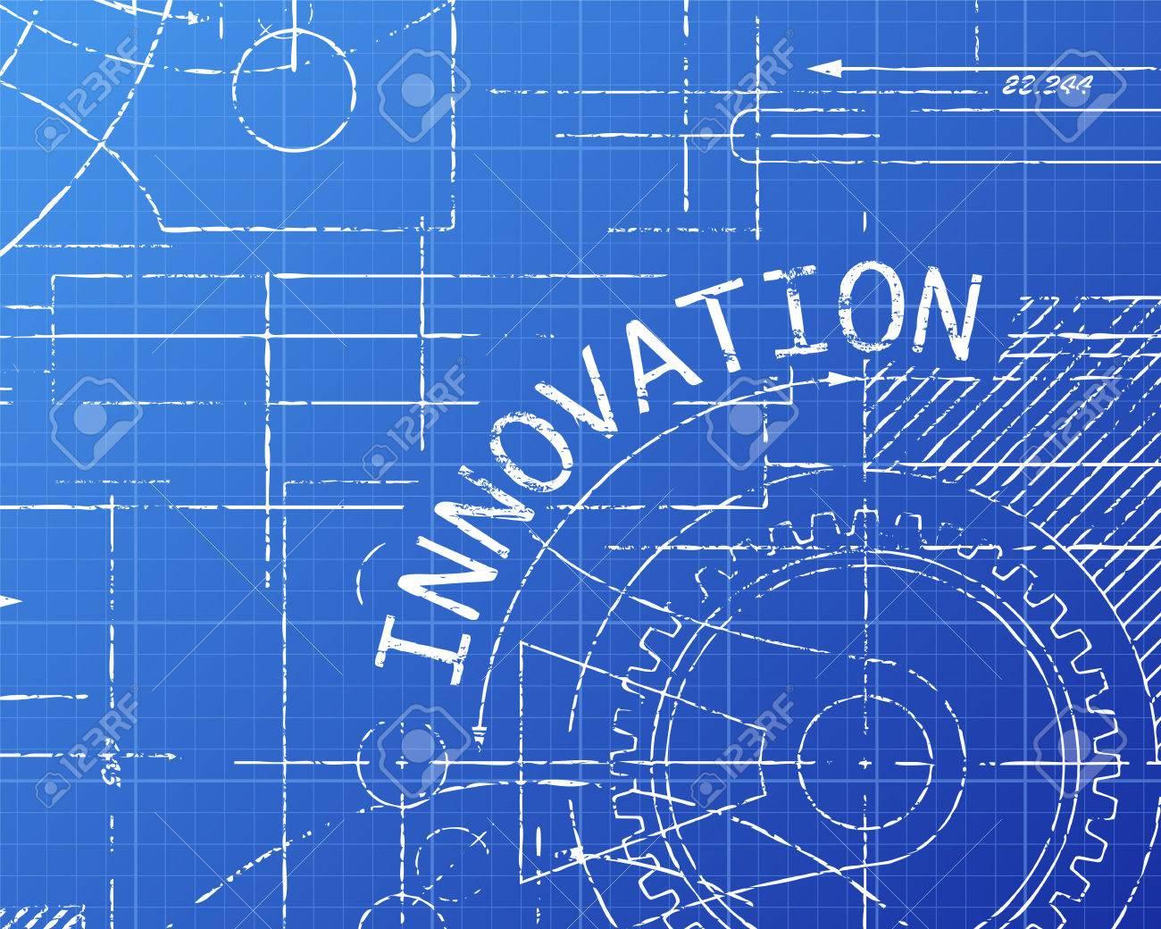 Innovation word on machine blueprint background illustration royalty innovation word on machine blueprint background illustration stock vector 69881900 malvernweather Gallery