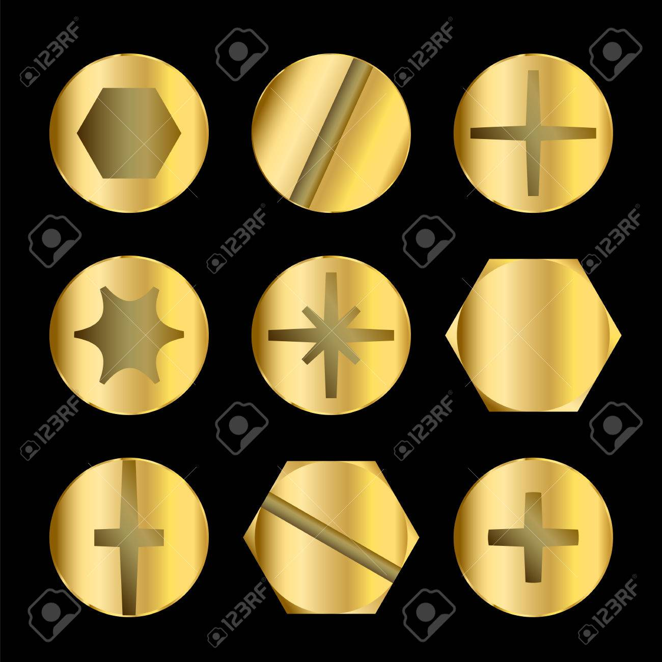 Bolt Head Types >> Different Gold Bolt And Screw Head Types Royalty Free Cliparts